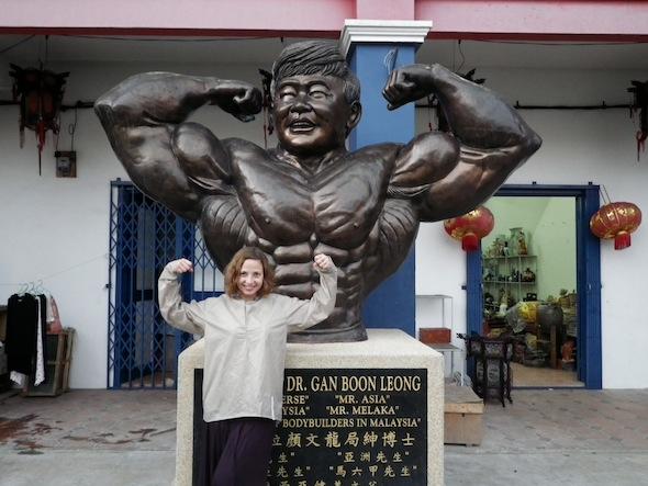 Ilze at a gym of China Town of Melaka
