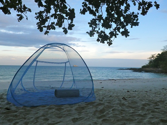Getting ready for sleeping on the beach with our mosquito net tent
