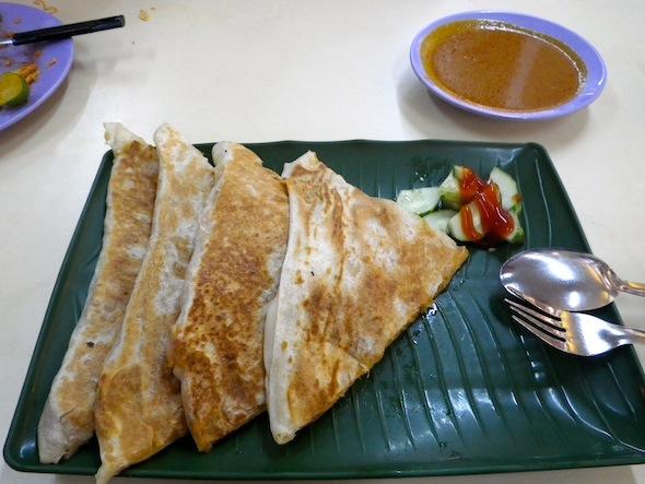 Indian breads: Murtabak filled with sardine