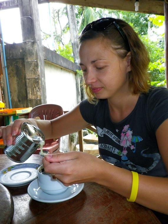 Ilze eating condensed milk spoon by spoon