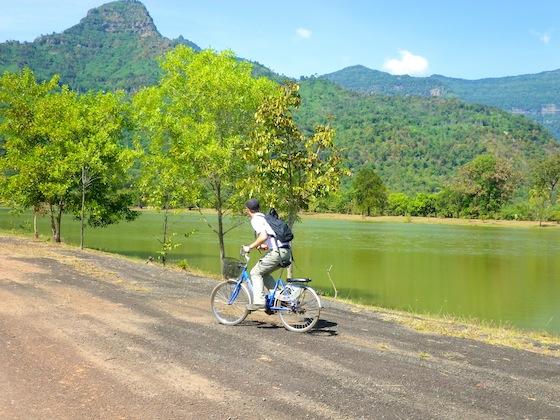 Cycling to Wat Phu, Laos