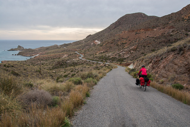 Cycling into the sunset in Cabo de Gata